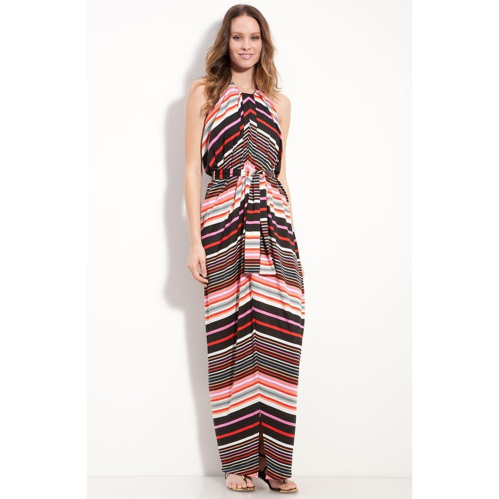 Suzi Chin For Maggy Boutique Stripe Jersey Halter Dress 4 Nwot New Womens long dresses gown