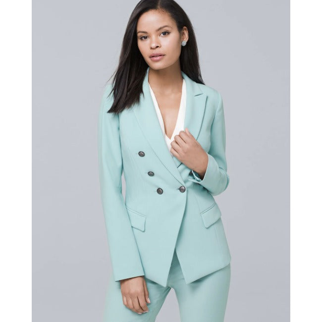 White House Black Market Trophy Jacket blazer 10 NWOT New Aqua Green Coat Womens
