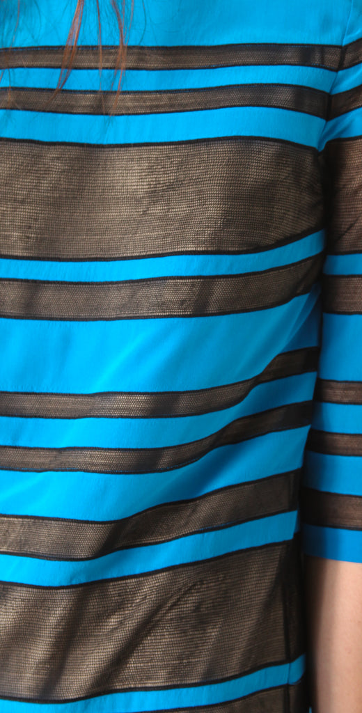 Robert Rodriguez Sheer Striped Silk Shift Dress