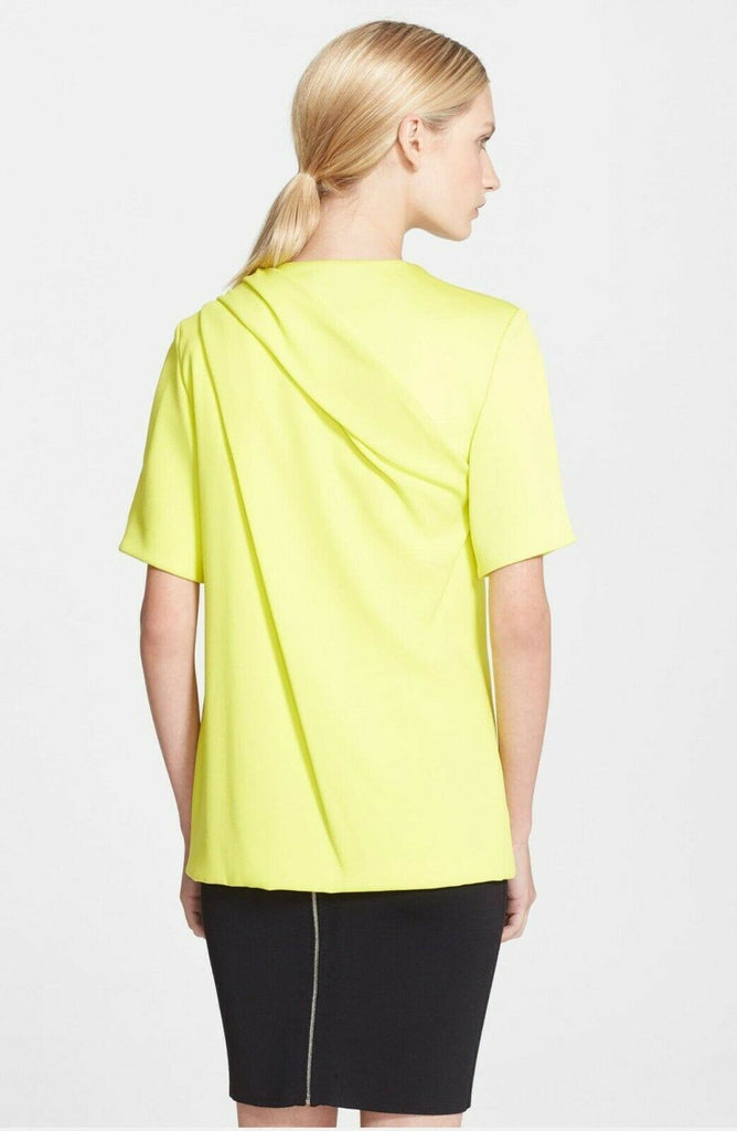 Alexander Wang Satin Yoke Draped Crepe Tee Top