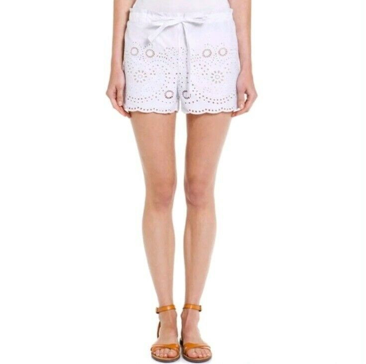 BCBG Max Azria White Drawstring Embroidered Lace Pash Shorts