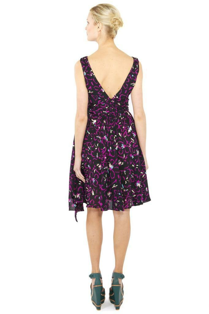 Halston Heritage Purple Hibiscus-print Dress