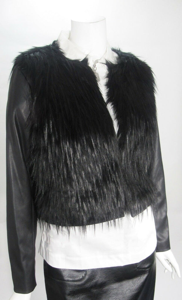 Michael Kors Black Faux Fur & Faux Leather Jacket