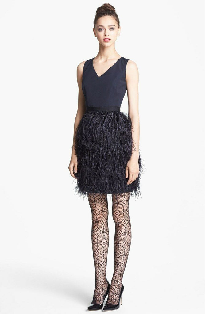 Miss Wu Feather Skirt Radiant Faille Dress