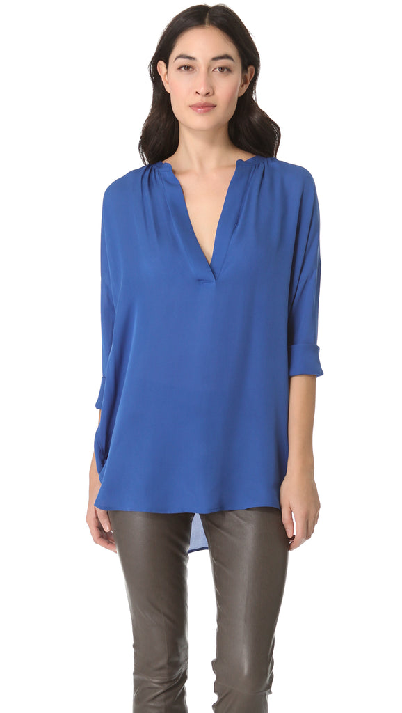 Vince Blue Silk Half Placket Popover Long-sleeve Blouse
