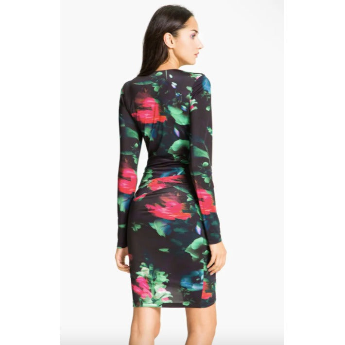 Black Halo Floral Jersey Dress LargeNWOT New Black Mini Womens Dresses