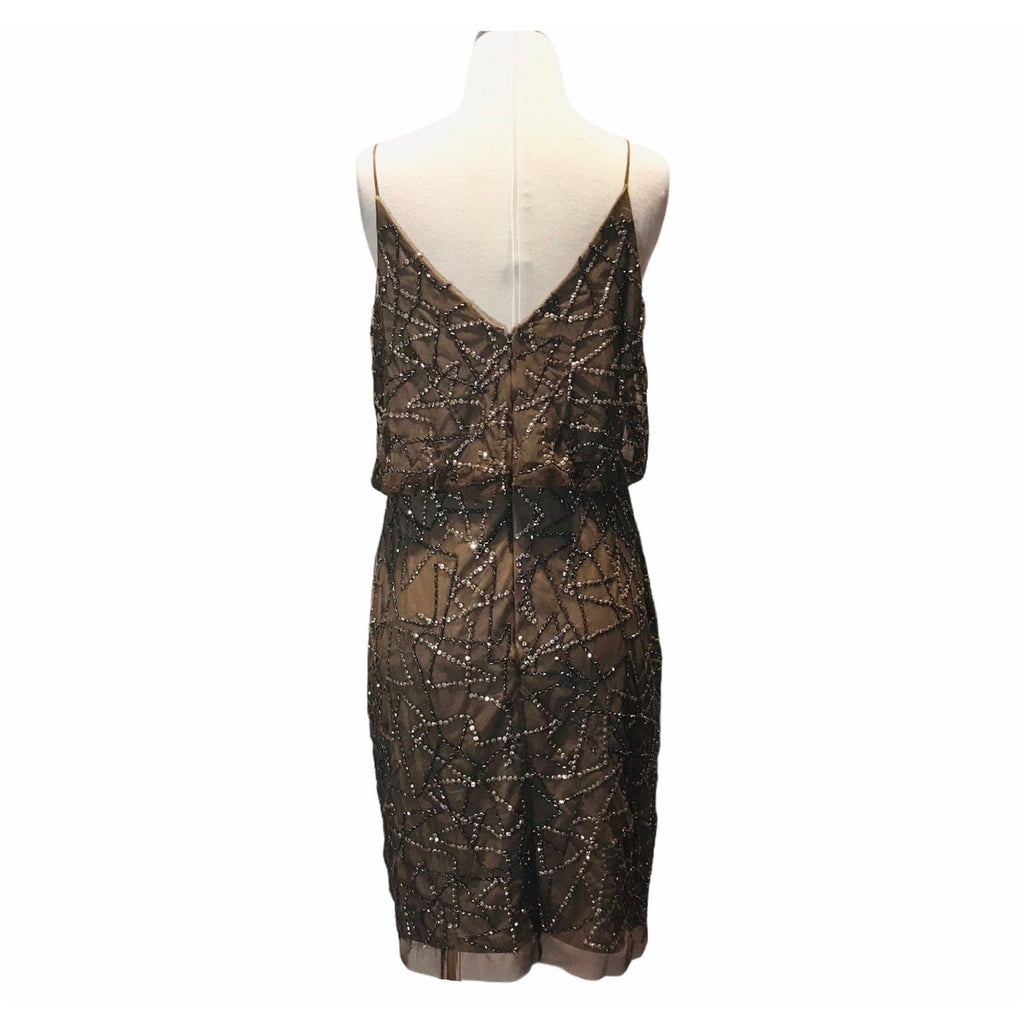Adrianna Papell Beaded Blouson Dress in Mink 10P