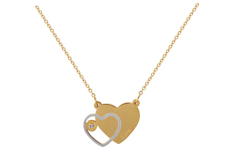 Collar Acero Inoxidable Dorado con Dije Doble Corazon Love con Cristal 24x18 mm
