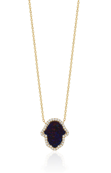 druzy hamsa necklaces