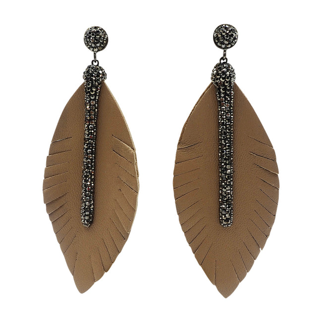 feather leather earrings white