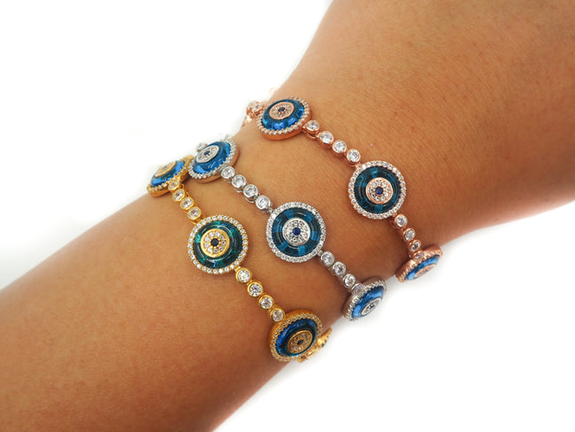 Natalia Glass Evil Eye Tennis Bracelet silver
