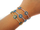 Natalia Glass Evil Eye Tennis Bracelet rose gold
