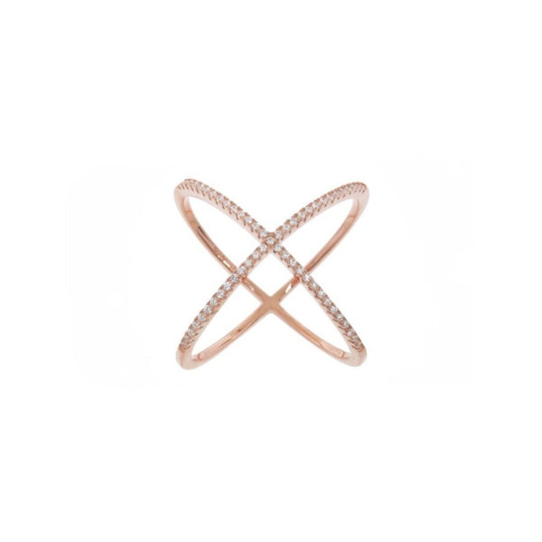 criss cross x ring silver