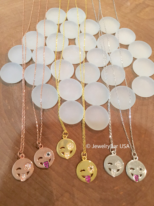 Silly face emoji necklace