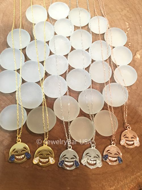 Laughing face emoji necklace