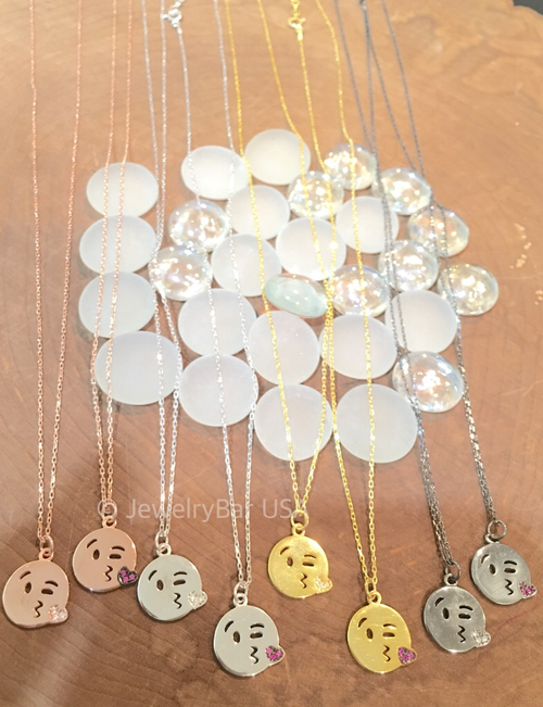 Kissy face emoji necklace