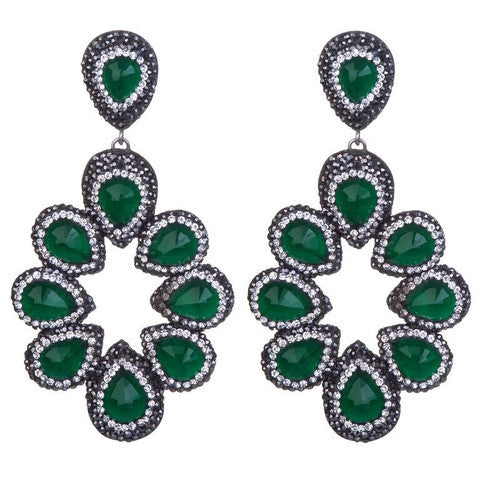 olivia statement Druzy earrings emerald