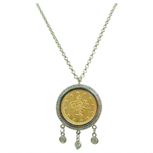 bezel vintage coin necklace