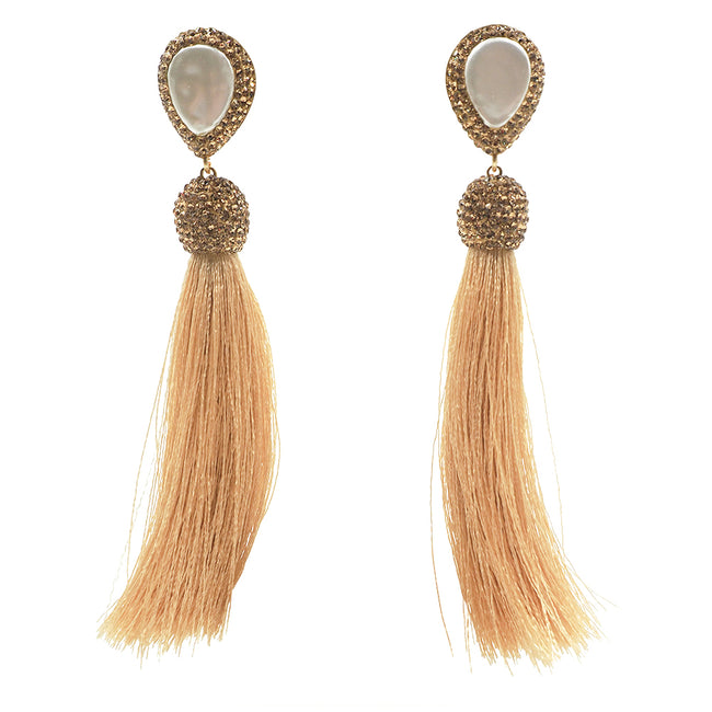 mother of pearl gold druzy tassel earrings light pink