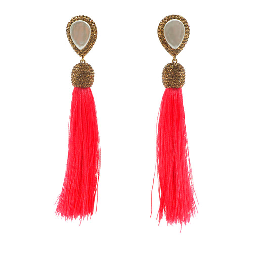 mother of pearl gold druzy tassel earrings hot pink