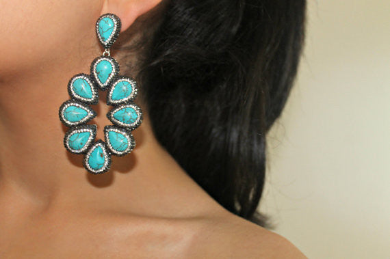 olivia statement Druzy earrings ocean blue