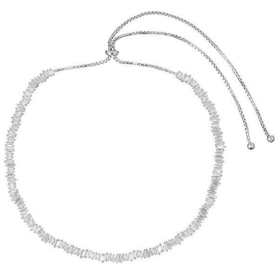 Baguette adjustable choker white gold