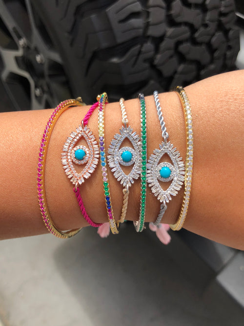 Baguette eye with silk tassel adjustable bracelet
