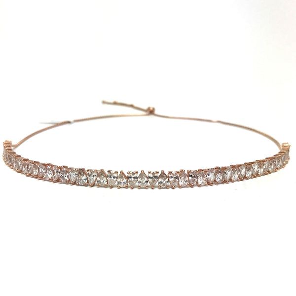 pear shape diamond choker rose gold