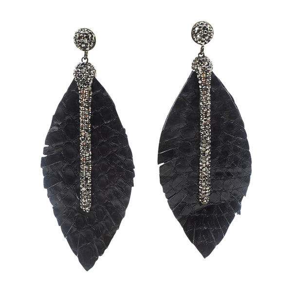 feather leather earrings black