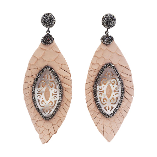 mother of pearl feather leather earrings light pink