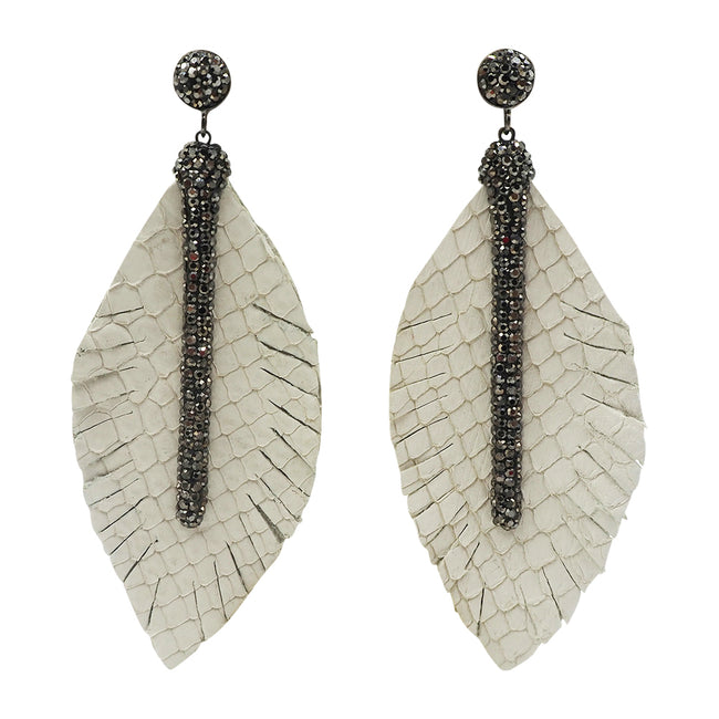 feather leather earrings beige
