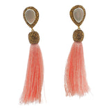 mother of pearl gold druzy tassel earrings beige