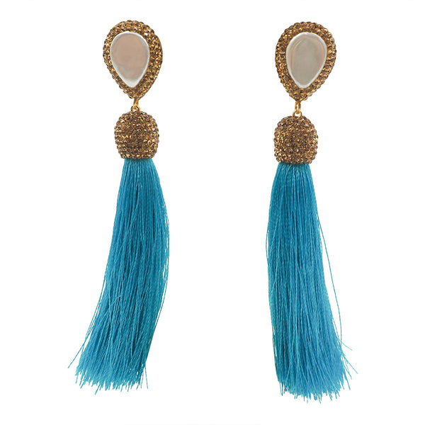 mother of pearl gold druzy tassel earrings turquoise
