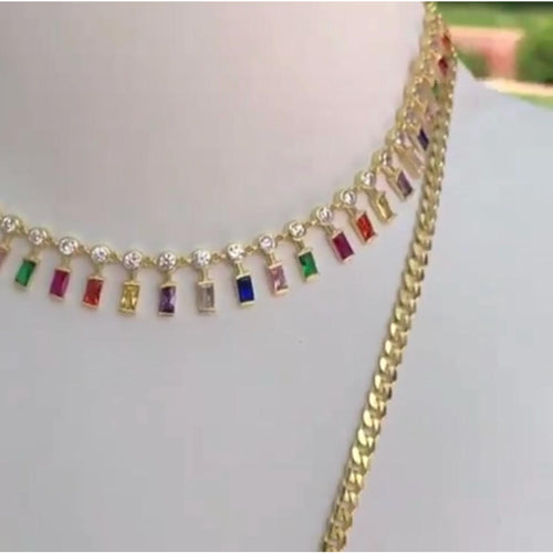 MULTI RAINBOW EMERALD CUT CHOKER