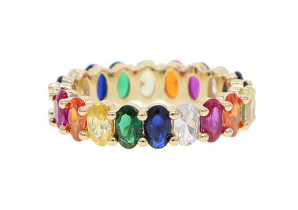Rainbow oval tennis ring