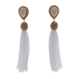 mother of pearl gold druzy tassel earrings navy