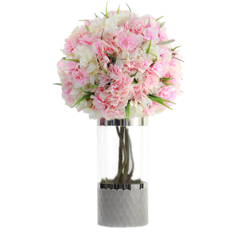 Pink artificial cherry Blossoms silver vase (Large)