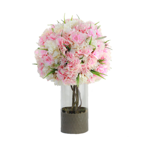 Pink Artificial Cherry Blossoms Silver Vase (Medium)