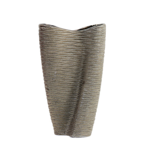 Twisted textured goldsilver vase