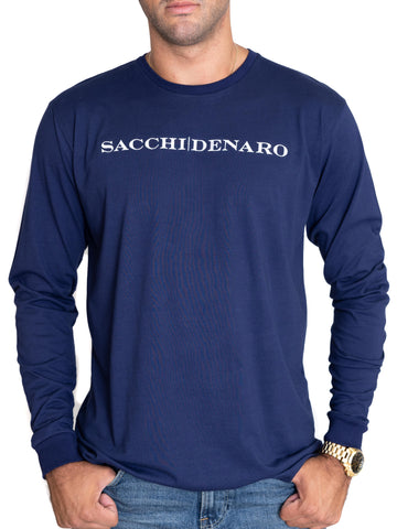 Image of NAVY LONG SLEEVE T-SHIRT