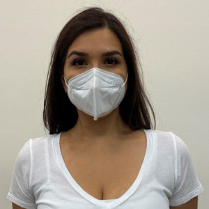 Woman, long dark hair in a white top, wearing a KN95 face mask from C19PPE.org.  It has ear loops to hold the face-mask tight to your face, is made of a soft material & has a thin metal band to help seal around your nose.  The protective face mask helps protect you and your family from COVID-19 virus by filtering up to 95 percent of particles you breathe in. Cloth face masks do not filter the air that your breathe in and therefore do little to protect you and your family from COVID-19 virus.