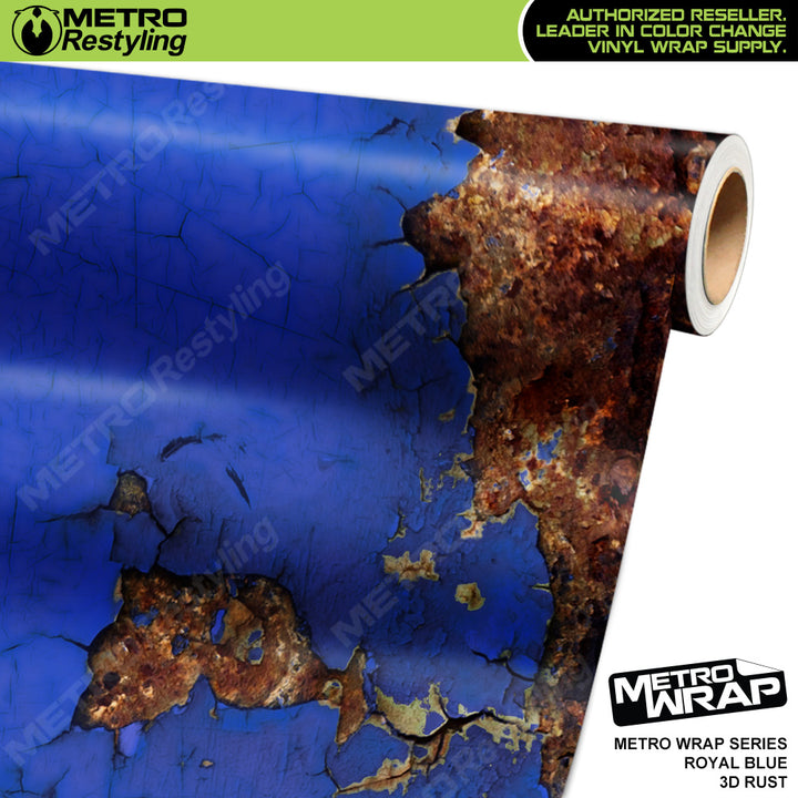 3d royal blue rust vinyl wrap