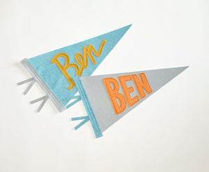 Ben: Custom Name pennants featuring cursive and block lettering as well as custom color choices