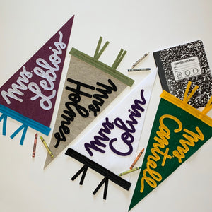 Featuring Custom Teacher pennants with cursive lettering and custom colors