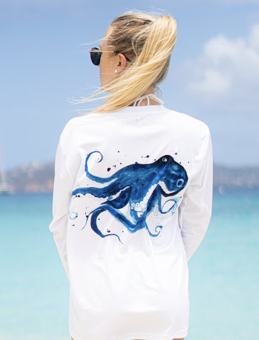 Watercolor Octopus Rash Guard