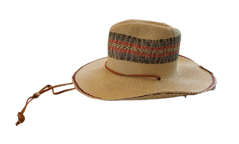 Tri-Color Striped Sun Hat with Chin Strap