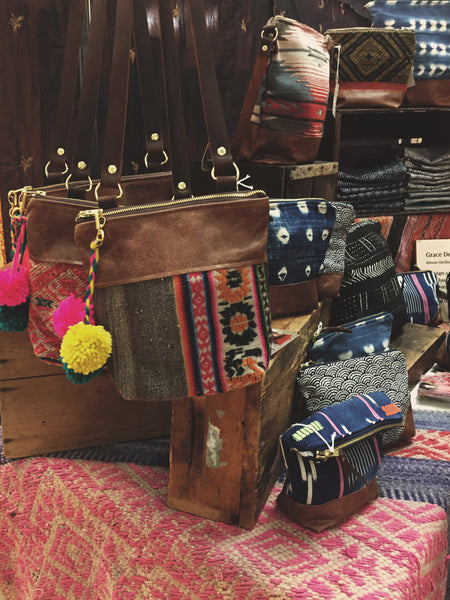 boho display, boho merchandising, boho fashion boutique, grace design bags, craft fairs toronto, boho bags, kilim bags