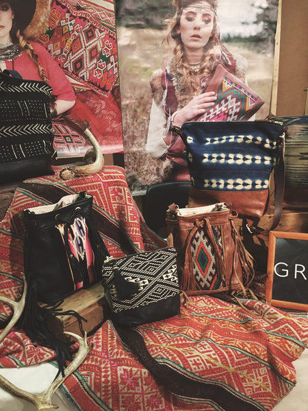boho display, boho store, fringe bags, boho merchandising, boho fashion boutique, grace design bags, craft fairs toronto, boho bags, kilim bags