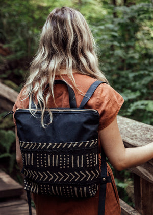 Strathcona Backpack | Leather & Canvas Black Mudcloth