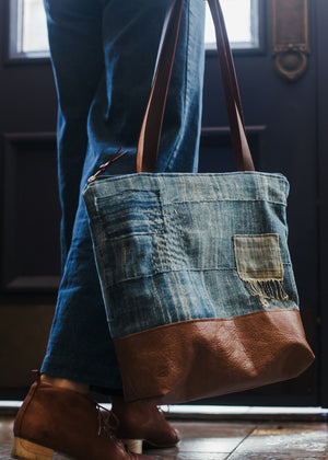 Aquarius Boro Indigo & Leather Patch Tote - Solid Indigo